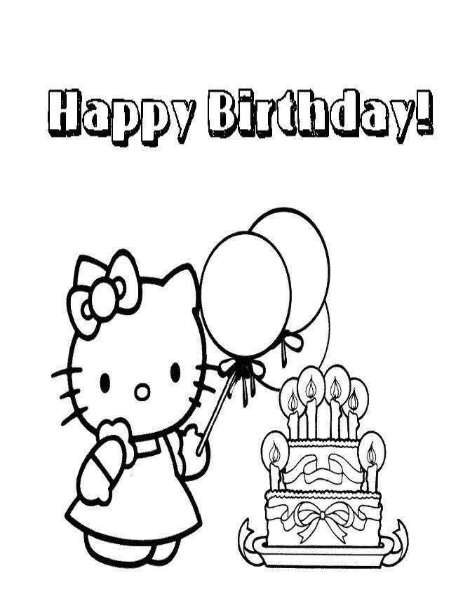 Hello Kitty Birthday Coloring Pages Hello Kitty Coloring ...