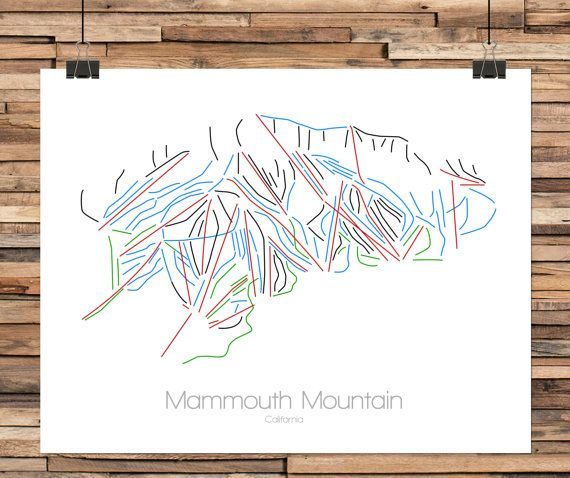 Mammoth Mountain California  Modern Ski Trail Map  Line Drawing