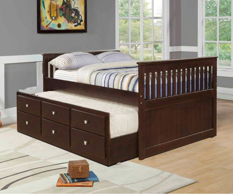 things drawers bedroom captains beds mission on pin bed size cappuccino full to with trundle