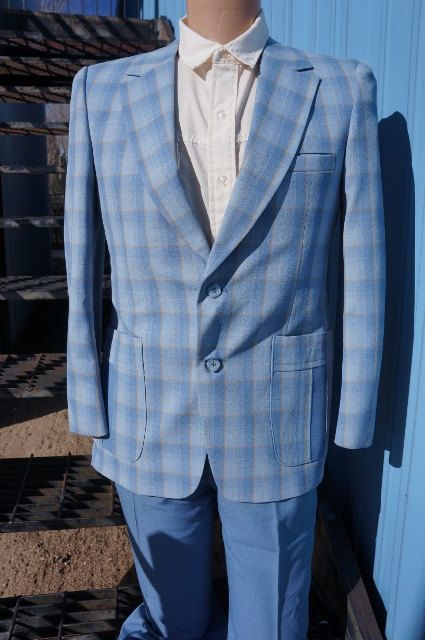 70s Mens Poly Blue Plaid Flared Leg Casual Suit / 70s Mens Disco ...