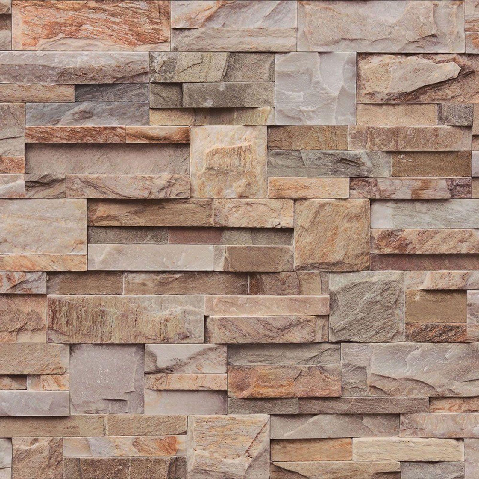 Details About Muriva Large Slate Wallpaper Natural J274 08 J27408 Stone Brick Brown Grey Brick Effect Wallpaper Slate Wallpaper Stone Wallpaper