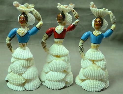 "Set Of 3 Lady Figurines Made From Sea Shells Indian Craft 6"" Ht 320 gm"