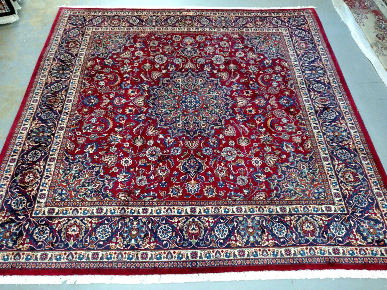 1980s Hand Knotted Rare Square Mashad Persian Rug 3526 By Carpetshopprincess On Etsy Persian Rug Rugs Persian