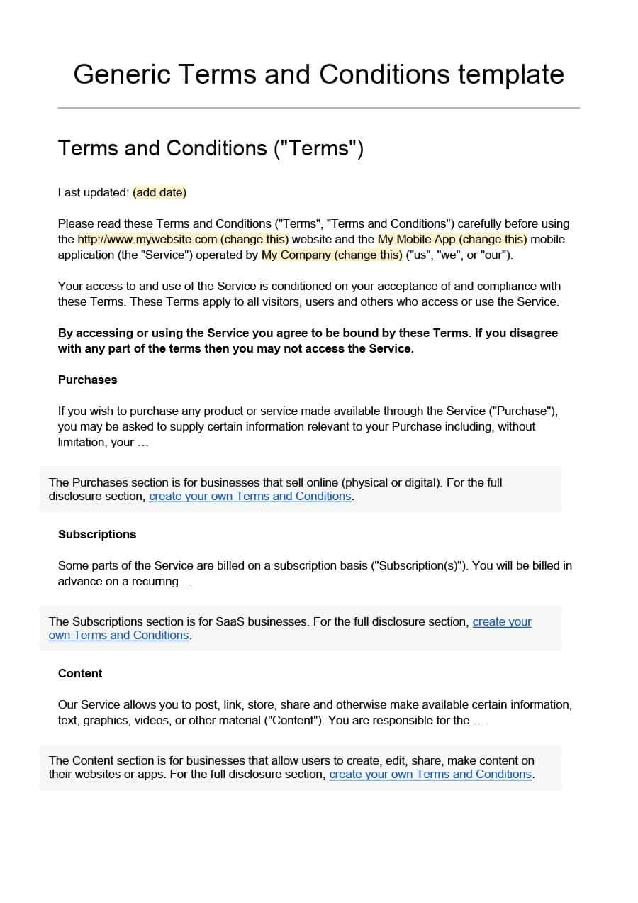 40 Free Terms and Conditions Templates for any Website ᐅ