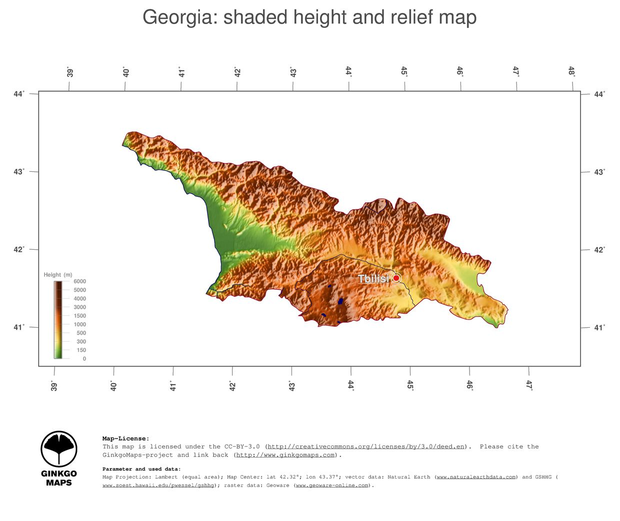 Topographical Map Of Georgia Shaded Height And Relief Map Of - Topographical map of georgia