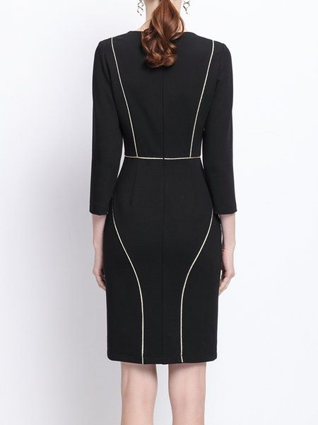 22ba9a8668 Sheath Binding 3 4 Sleeve Formal Midi Dress