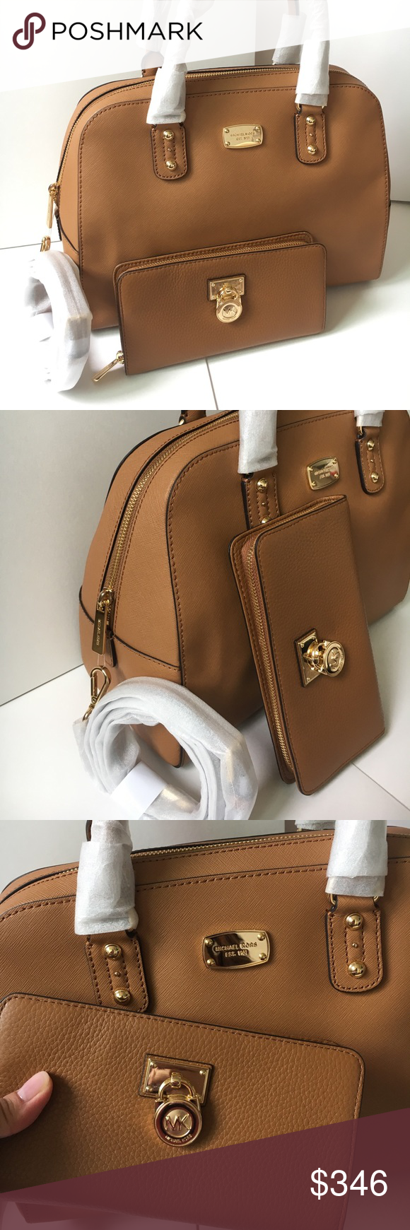 Mk Satchel Nwt Satchels Michael Kors And Purse Small Acorn Authentic Both Brand New With Tags Saffiano Large Size