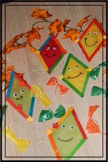 Familie und mehr : Bastelzeit: Herbstliche Drachen aus Eisstielen und noch mehr.....mit kindern im herbst basteln #herbstbastelnmitkindern