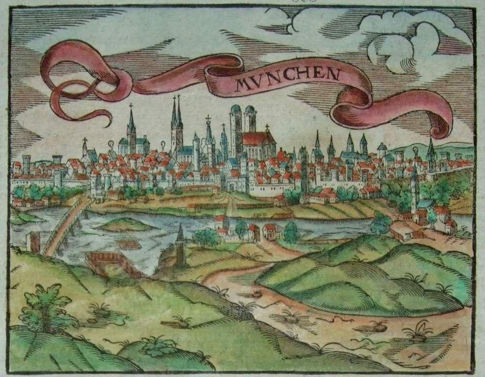 München - Originale Ansicht von Sebastian Münster - um 1580 in Antiquitäten & Kunst, Grafik, Drucke, Originaldrucke vor 1800 | eBay
