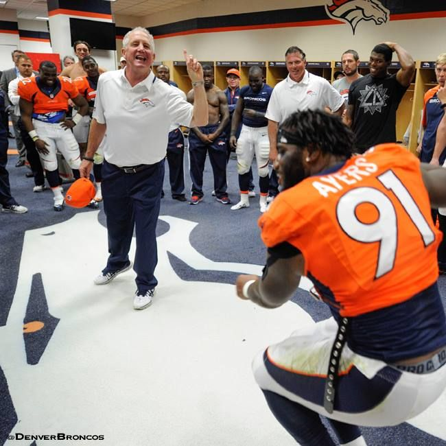 Go Inside The Broncos Winning Locker Room And See Coach Fox S Postgame Speech To The Team With This Exclusive Footage Broncos Denver Broncos Broncos Football