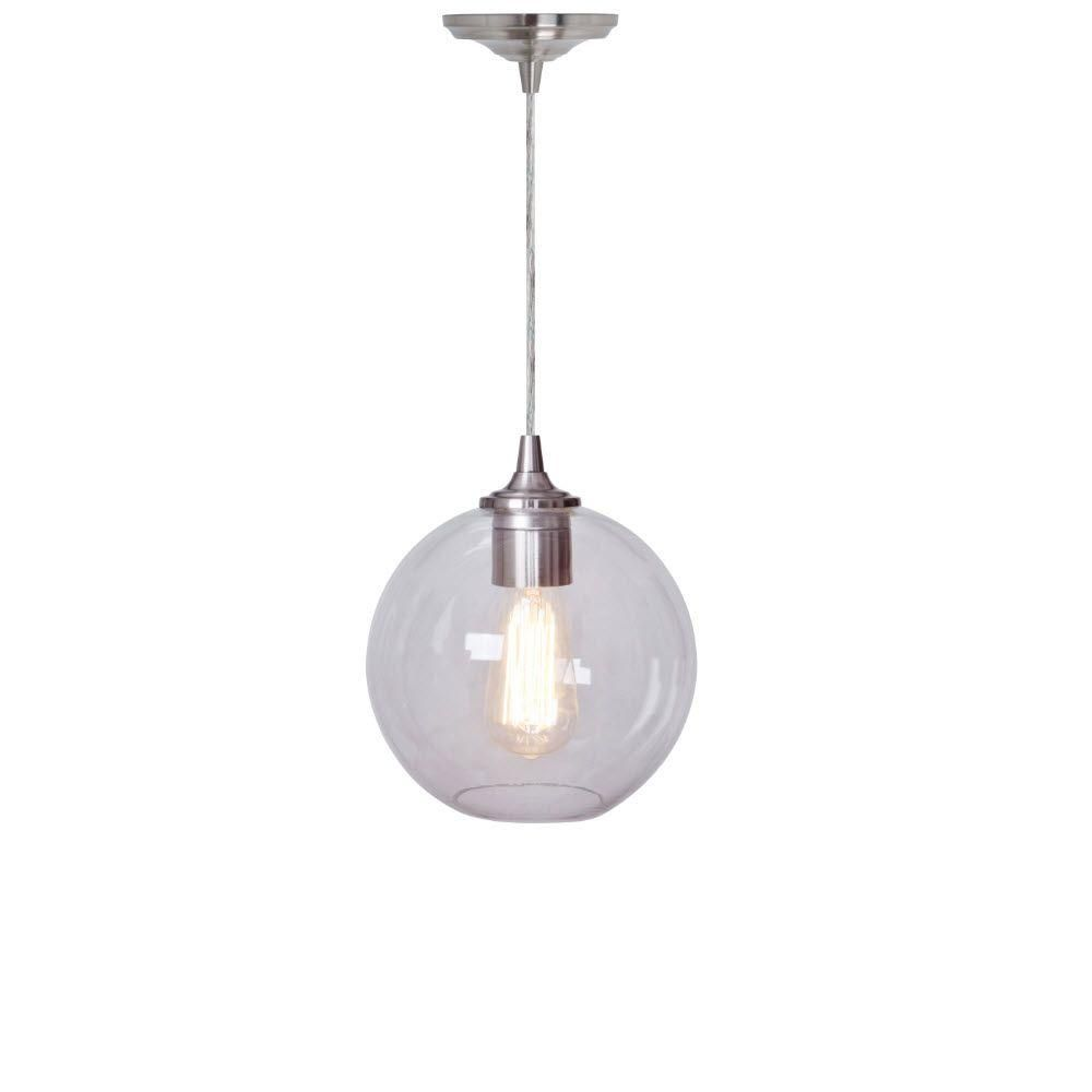 Home Decorators Collection Orb Clear And Nickel Ceiling Pendant 1235705420 The Home Depot Ceiling Pendant Fan Light Home Decorators Collection
