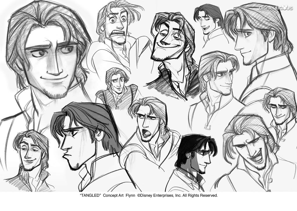 Concept art for Flynn Rider from Tangled. He had the BEST expressions. Artist Jin Kim.