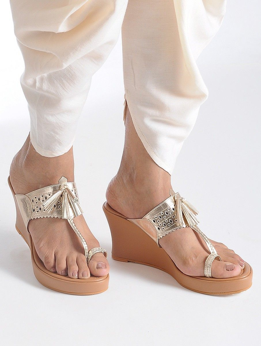 a6628a134b215 Buy Tan Silver Handcrafted Kolhapuri Sandals Leatherite Footwear Shoes    Heels Khadi Minimalism Japanese inspired sarees in soothing hues Online at  Jaypore. ...