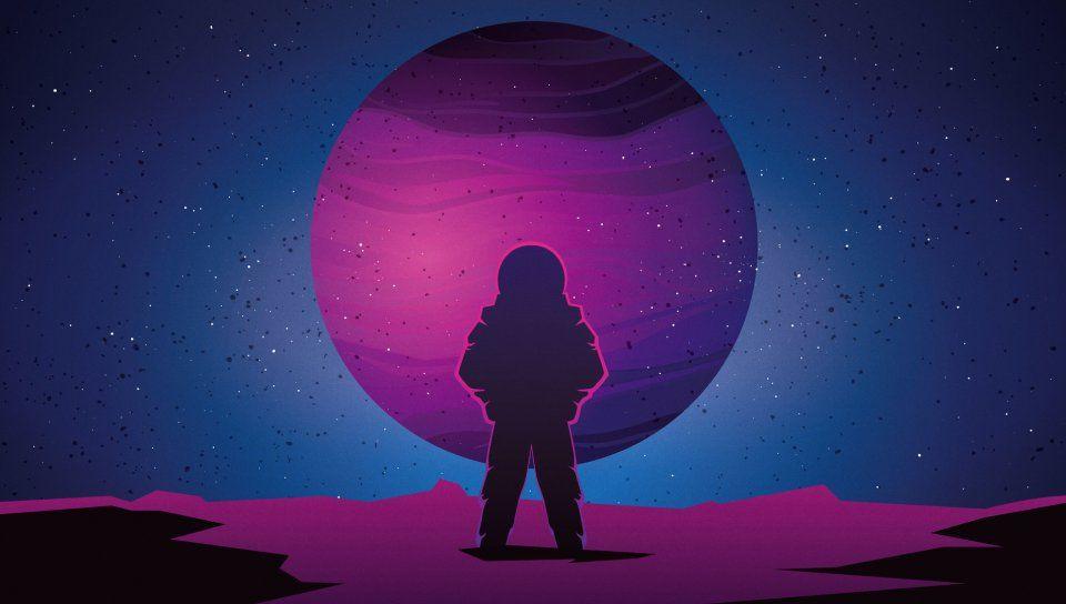 Astronaut Vaporwave Minimal Space Planet Art Wallpaper Art