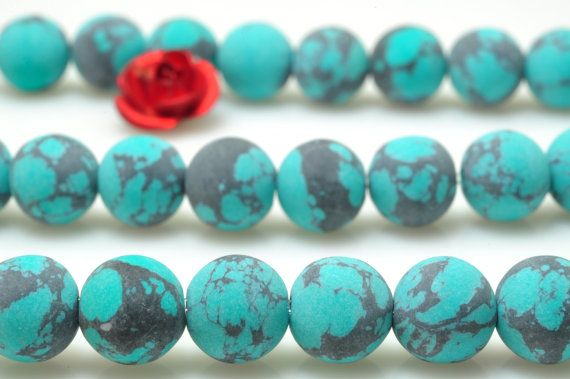 62 pcs of Green Turquoise matte synthesis round beads in 6 mm
