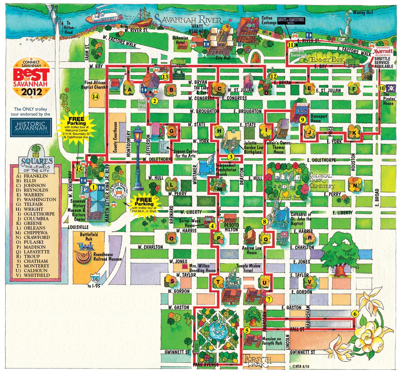 Savannah GA Trolley Map