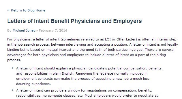 Letters of Intent Benefit Physicians and Employers Physician - good faith letter