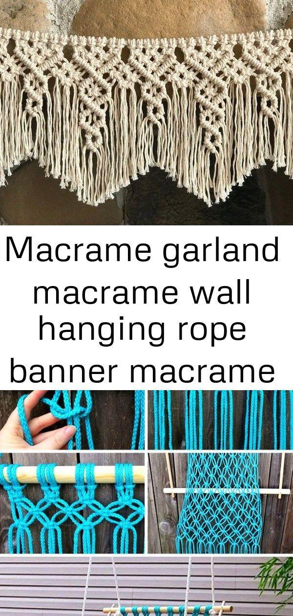 Macrame garland macrame wall hanging rope banner macrame door curtain short curt  5 Macrame garland Macrame wall hanging Rope banner Macrame door curtain Short curt  Macr...