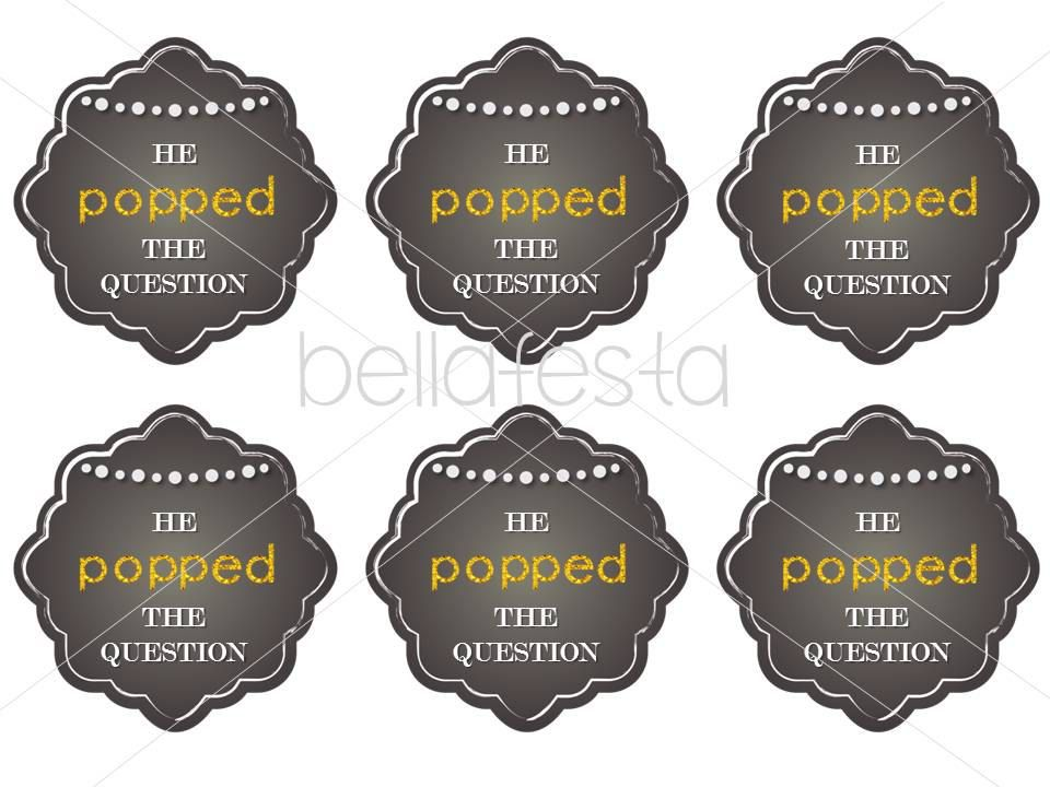 image relating to He Popped the Question Printable known as He Popped the Speculate PRINTABLE Tag for by way of BellaFestaCrafts