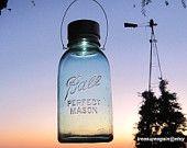 Large Vintage Light Combo Outdoor Light Half Gallon Hanging Flower Vase or Mason Jar Solar Light Lantern with Flower Frog Lid