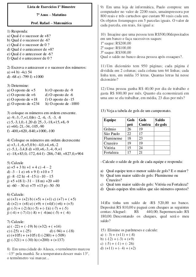 Lista De Exercicios 1º Bimestre 7º Anos Matutino Prof Rafael Matematica 1 Responda A Qual E O Sucessor De 8 B Q J 17 Journal V 15