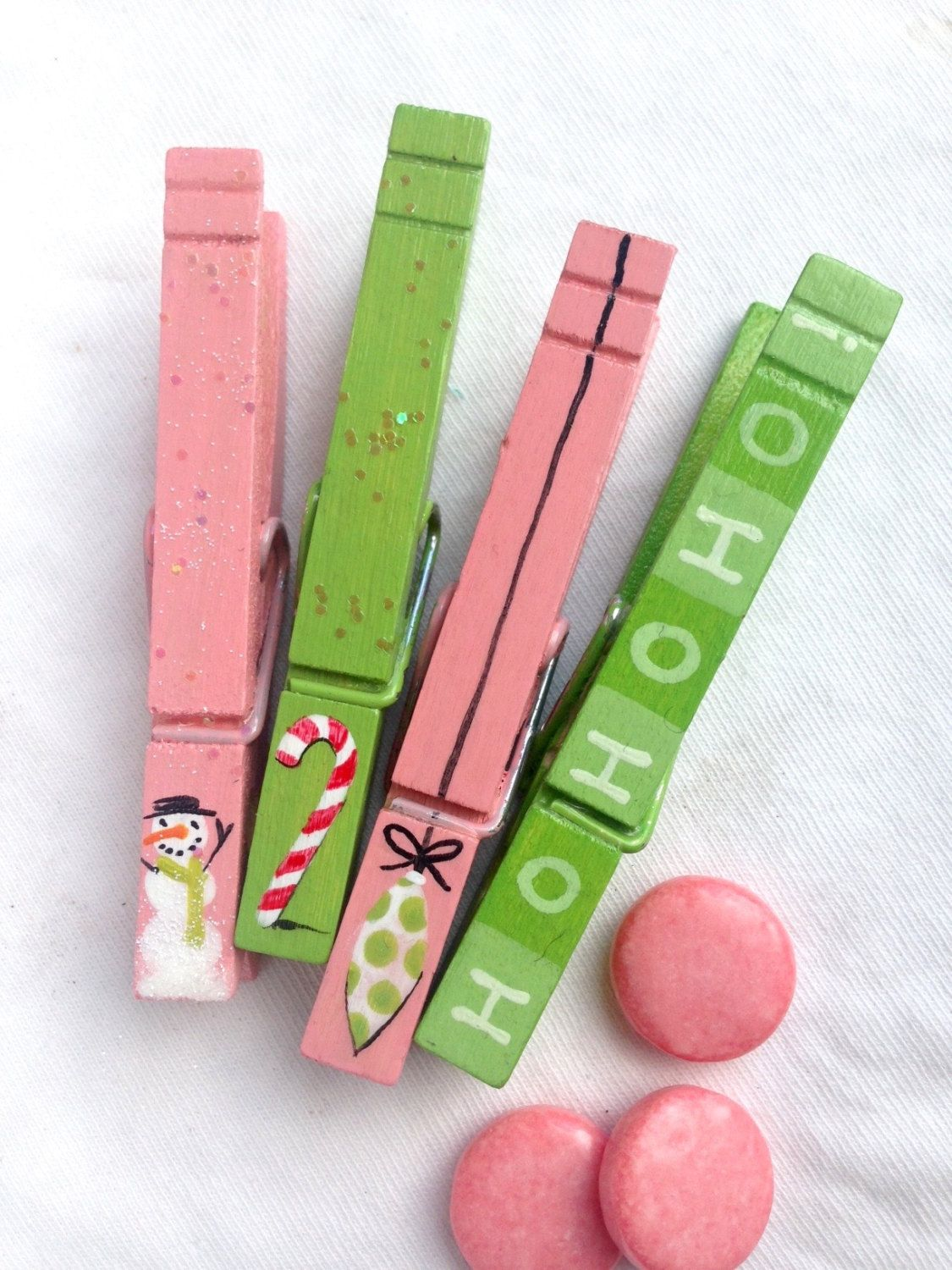 CHRISTMAS CLOTHESPINS pink and green hand painted snowman candy cane ornament ho ho ho magnet by SugarAndPaint on Etsy