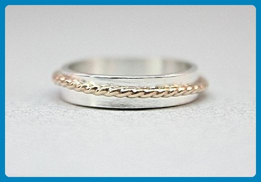 Asymmetrical Gold & Silver Band - Modern Unisex Design - Wedding and engagement rings (*Amazon Partner-Link)