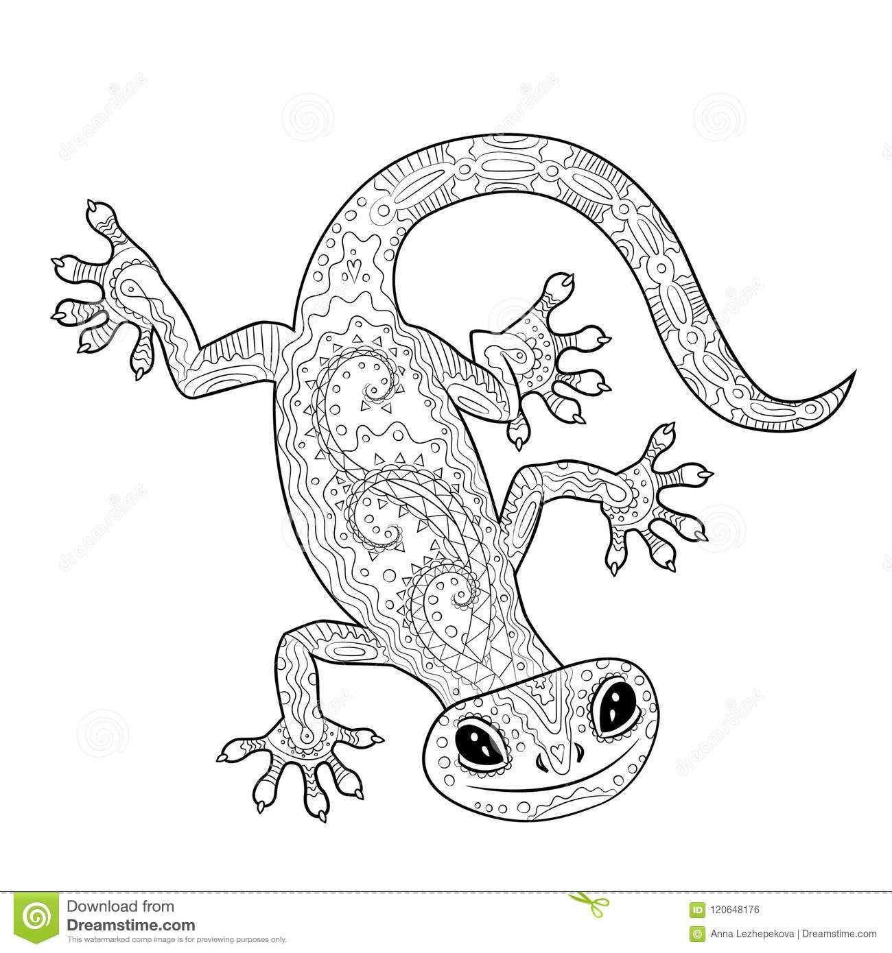 Coloring Page With Gecko In Patterned Style Stock Vector
