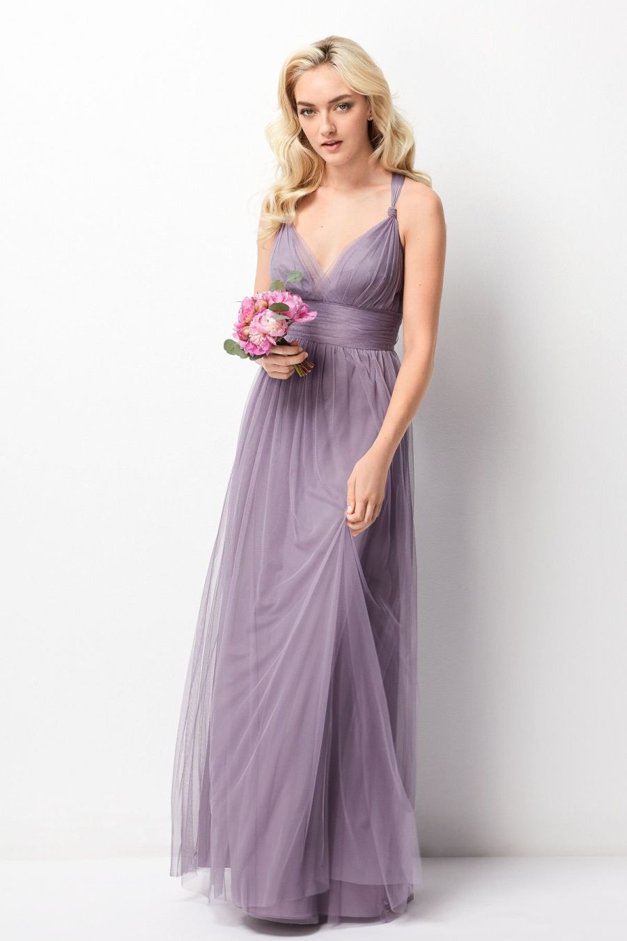 Size 6 Heather- Wtoo 244 is a convertible floor length Bobbinet ...