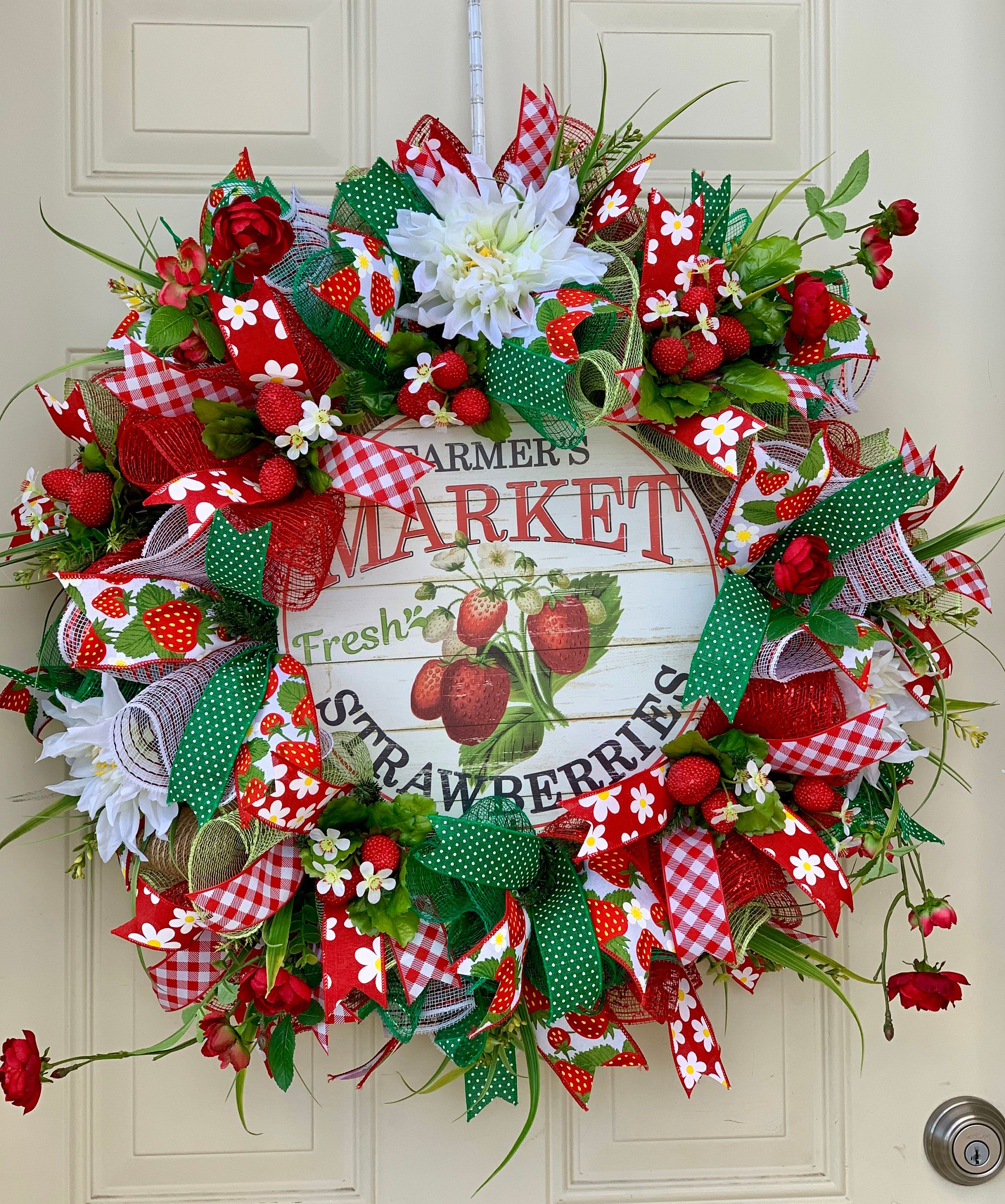 Photo of Items similar to Spring Wreaths- Summer Wreaths- Front Door Wreaths- Deco Mesh Wreaths-  Strawberry Wreath on Etsy