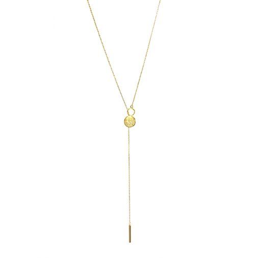 Verna NL – Necklace – SHORT BRUSHED DISC AND LONG DROP