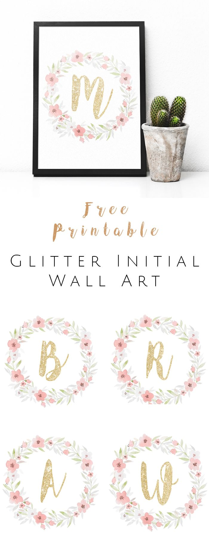FREE Printable Glitter Initial Wall Art - Watercolor and gold