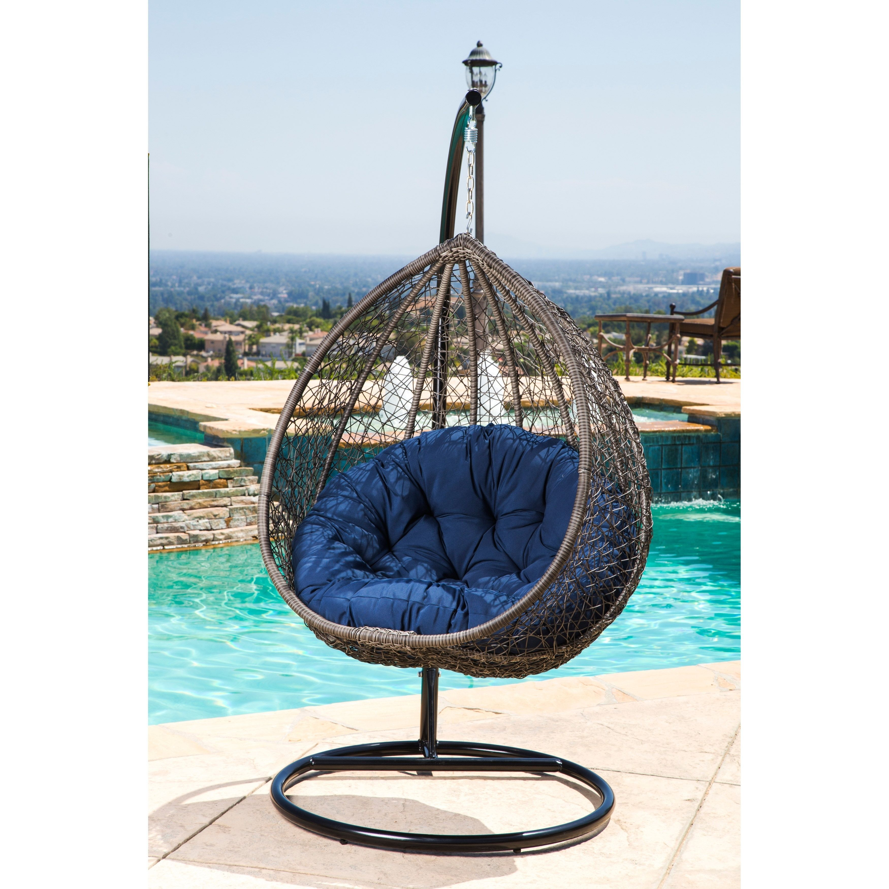 Abbyson Newport Outdoor Wicker Patio Swing Chair Brown Blue Polyester Iron Navy Furniture