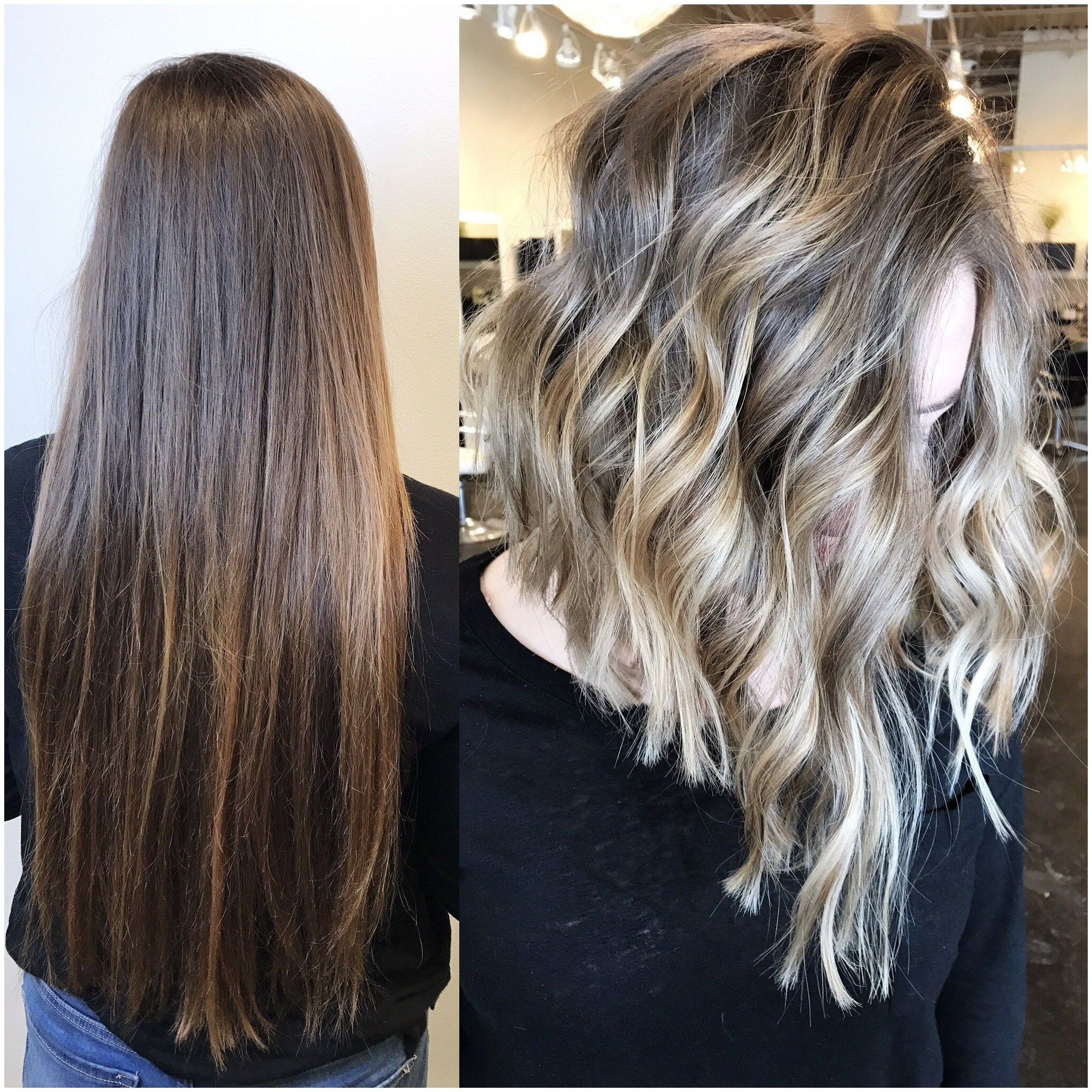 Before And After Transformation From Long To Lob And Blonde Balayage By Hairbynayashafehlhaber At Reveal Salon And Spa Omaha N Balayage Hair Hair Styles Hair