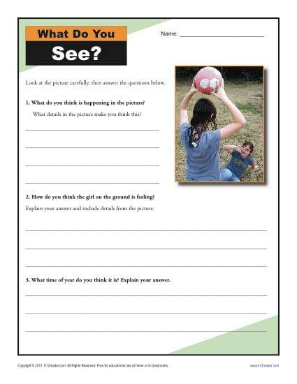 4th and 5th Grade Activity - Drawing Conclusions - Your student will analyze the clues in the dramatic picture in this inference worksheet. It's aligned with Common Core Standards for Reading Literature or Reading Informational Text for 4th and 5th grade, although other grades may use it as appropriate.