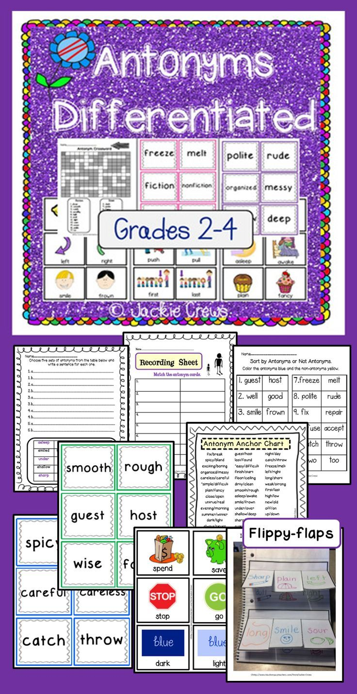 This product has antonym cards, practice pages, sentence writing, teaching poster, flippy-flaps and ideas for use. The material is also useful for literacy centers, assessment, tutoring and homework.