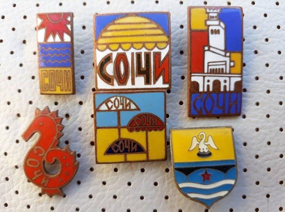 234b104443e6 Sochi Soviet Union Vintage Enamel Pins Badges Porcelain Pins Russia USSR  Сочи