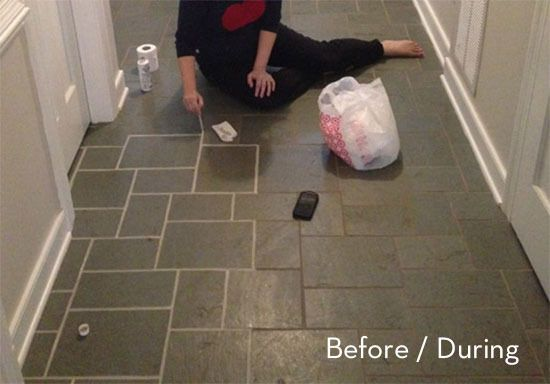 How To Make Your Tile Floors Look New Again A Grout Makeover Young House Love Grout Renew Grout Cleaner