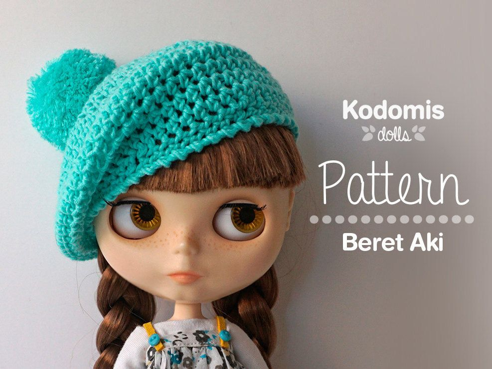 Pattern PDF - Beret Aki for Blythe with pompom - DIY | Amigurumi ...