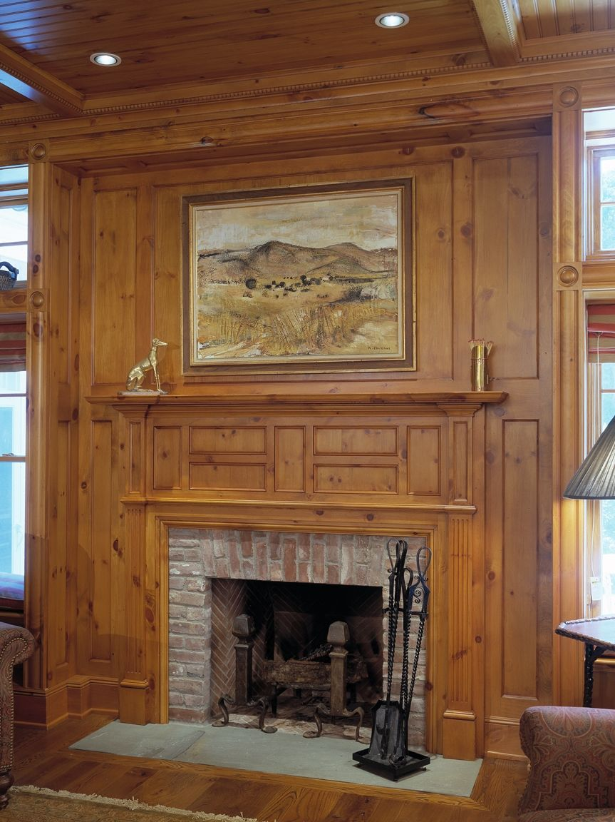 Knotty Pine Paneling Mantel Family Room Like Wood Finish Color