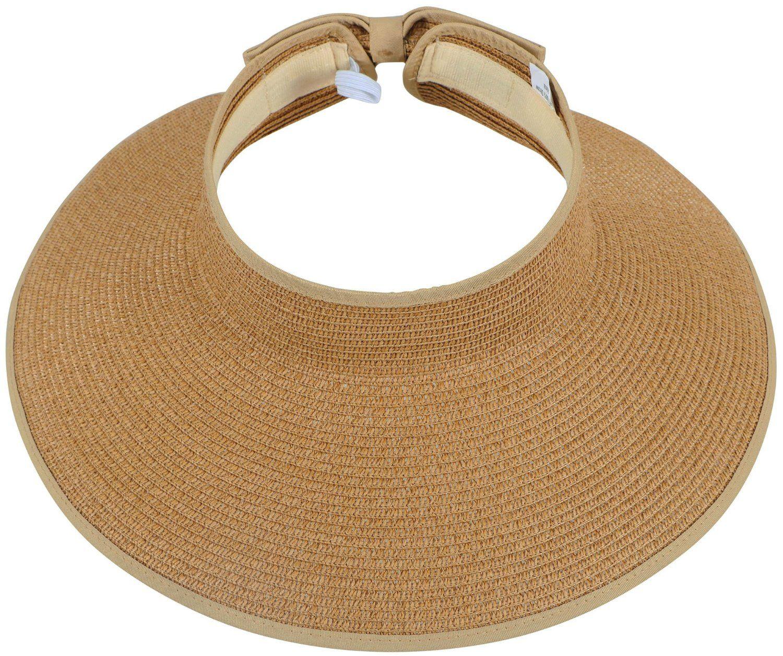 084f6653b6e98 Amazon.com  Simplicity Women s Wide Brim Roll-up Straw Hat Sun Visor  Natural  Sports   Outdoors