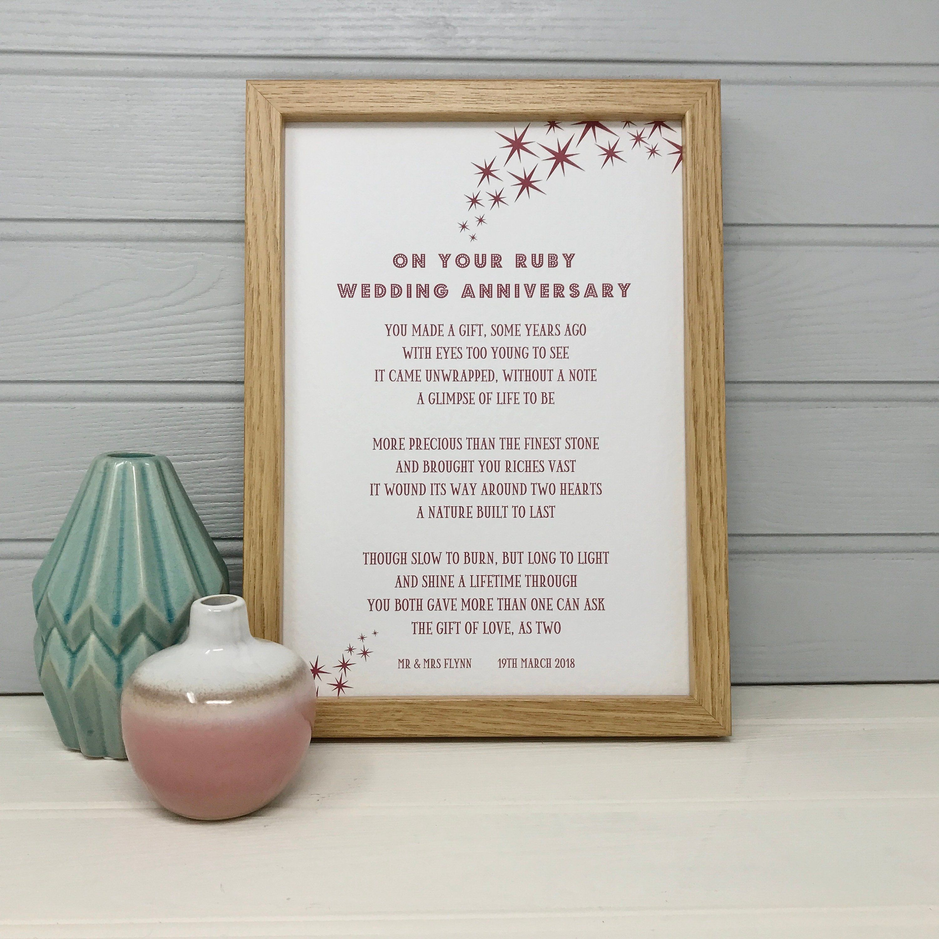 Ruby Wedding Anniversary Poem Ruby Anniversary Gifts For Parents