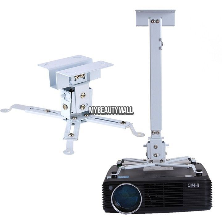 Universal Extendable Tilt Ceiling Projector Mount Bracket LCD DLP Silver 44lbs