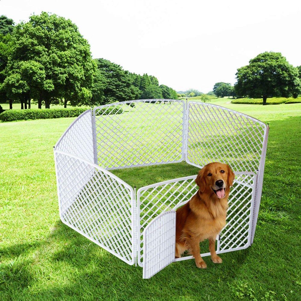 Good PawHut Portable Plastic Pet Dog PlayPen Exercise Pen Fence 4/6/8 Panel  Kennel