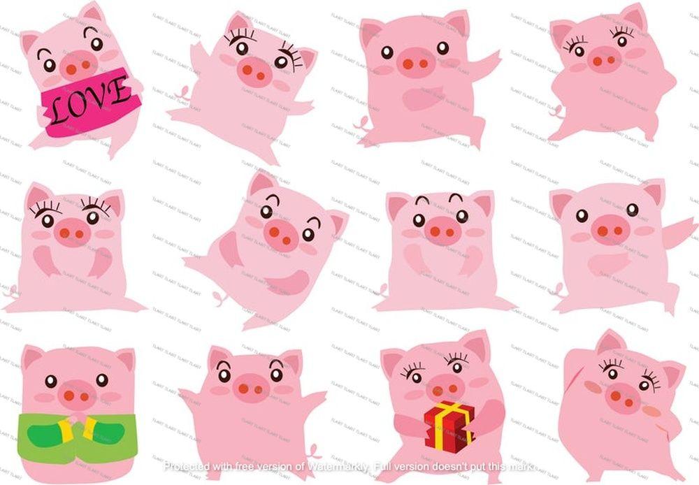 12 Funny Cartoon Pig Clipart Pig Characters Birthday Etsy Pig Cartoon Funny Cartoon Pig Character
