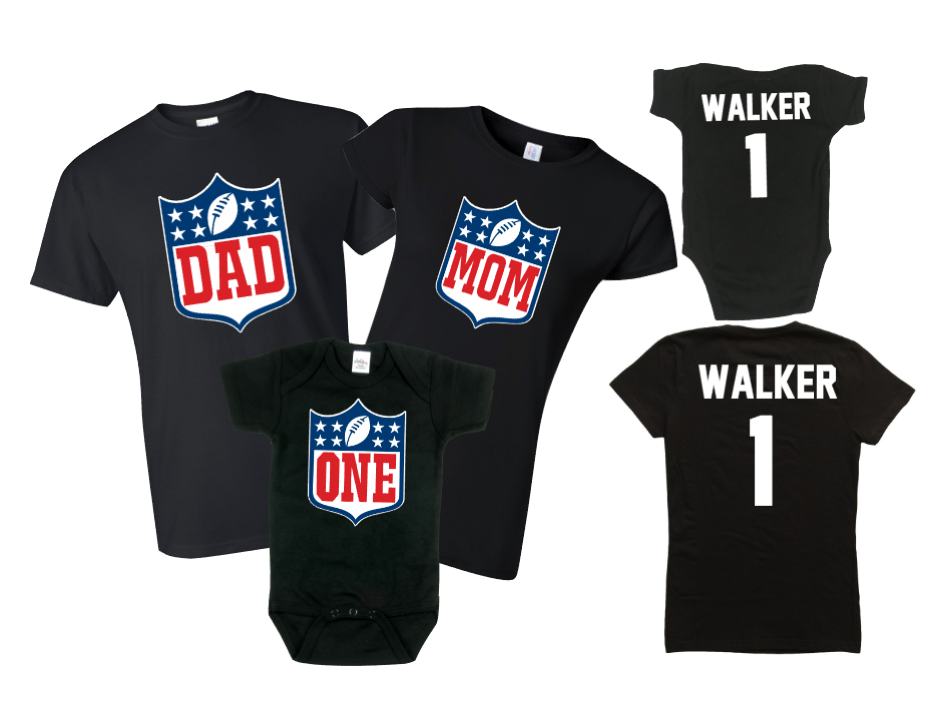 "Family Birthday Football Body Suit ""ONE"" 