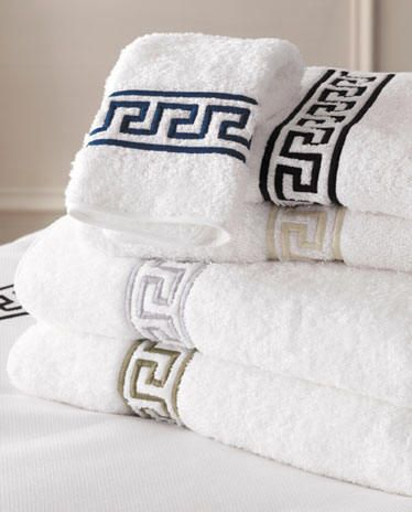 Greek Key Embroidered Bath Towels Home Design Ideas