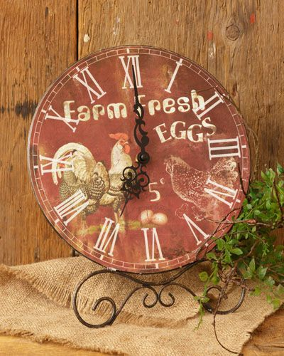 New French Country Farmhouse FRESH EGGS RED ROOSTER  Pedestal Shelf Clock #RusticPrimitive