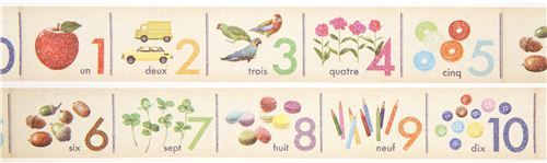 wide mt Washi Masking Tape deco tape French numbers