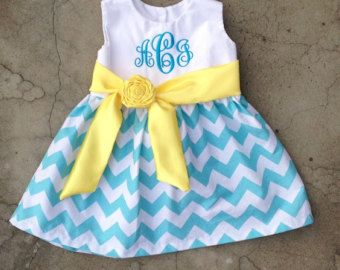 Baby Girls Chevron Easter Dress Monogrammed Outfit Baby Girl Dresses Baby Girl Outfits Personalized Toddler Dress Blue And Yellow
